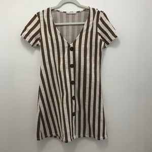 NEW! Brown/White Striped Dress